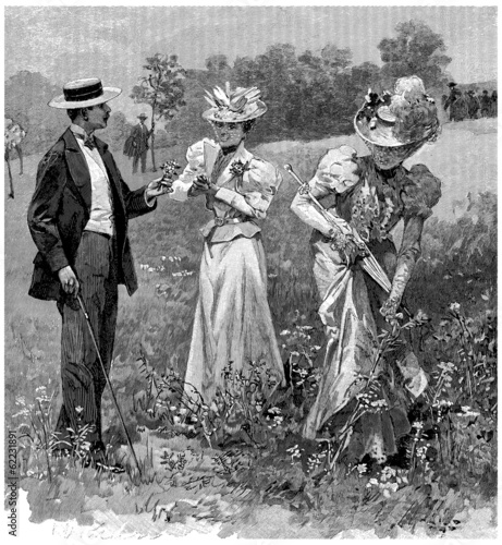 Walking in the fields - end 19th century