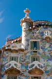 Casa Batllo top fachade and rooftop at Barcelona