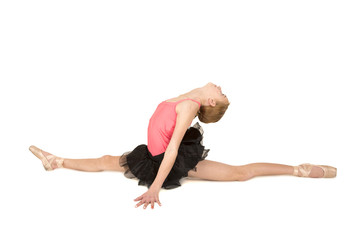 elegant young ballerina doing the splits with her head back
