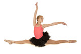 elegant young ballerina doing the splits with arms up