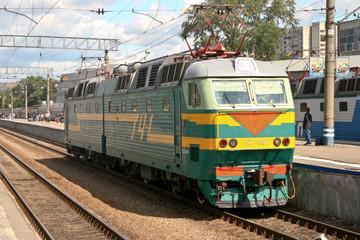 Train in Yaroslavsky station, Moscow Russia