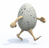 egg with arms and legs protruding from the shell that is running