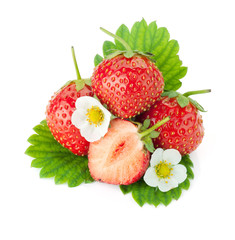 Strawberry fruits with flowers and leaves