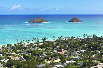 mokulua islands off the shore of Lanikai Beach