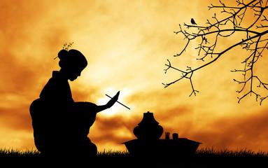 Tea ceremony at sunset