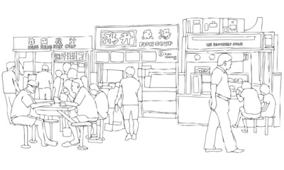 Vector Illustration of Asian Street Food Court
