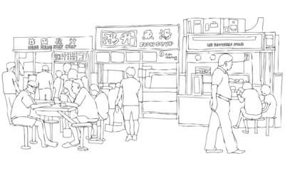 Vector Illustration of Asian Street Food Court