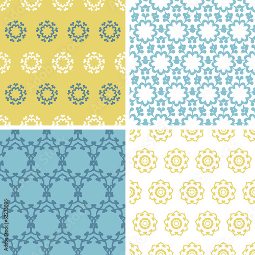 vector four abstract yellow blue florals seamless pattern