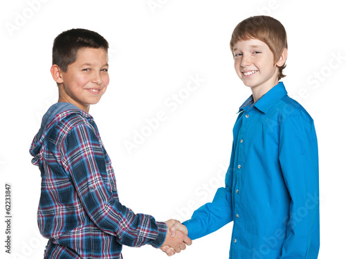 Handshake of two cheerful boys