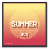Conceptual poster with summer sun in a minimalist style