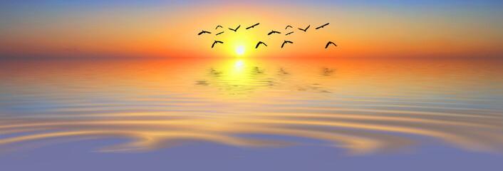 paisaje panoramico del mar al amanecer