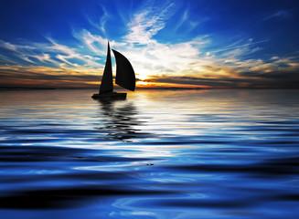 surcando el oceano en la noche