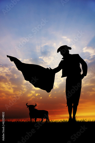 Bullfighter at sunset