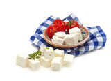 feta cubes and tomato