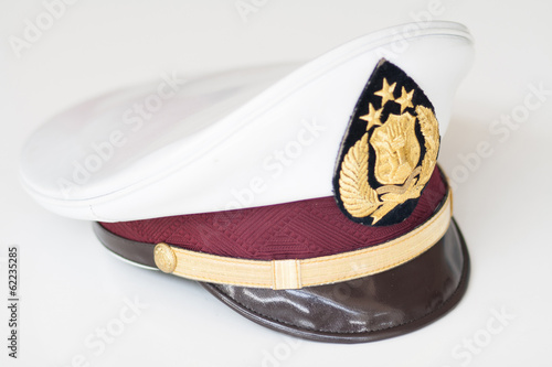 Police captain hat isolated on white