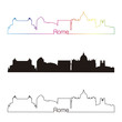 Rome skyline linear style with rainbow