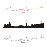 Seoul skyline linear style with rainbow