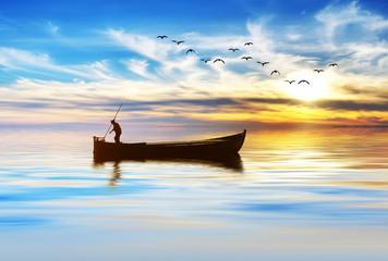 pescando entre las nubes de colores