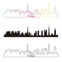 Tokyo skyline linear style with rainbow