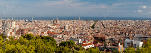 Panoramic view of Barcelona city