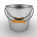 Metallic bucket. 3d illustration on white background