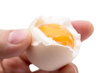 egg with yolk in a hand on a white background