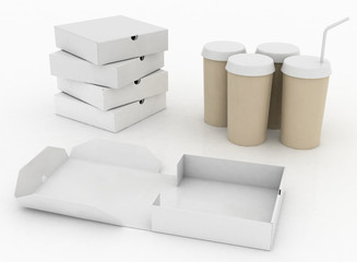 White boxes for pizza and white  containers for cola with tubule