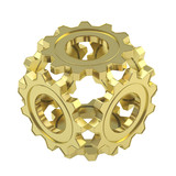 Sphere made of cogwheel gears isolated