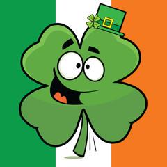 Goofy Cartoon Shamrock Irish Flag