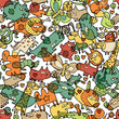 Animals and Objects Seamless Pattern