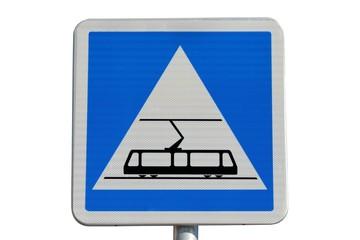 Panneau de signalisation de ' zone tramway '