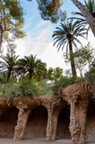 Viaducto and Palms in Park Guell at Barcelona