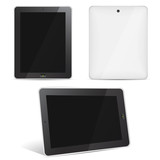 Vector tablet computer set face, back, perspective view