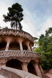 Viaducto and tree in Park Guell at Barcelona