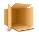 Open empty cardboard box. Eps10 vector illustration. Isolated