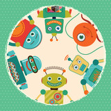 Vintage Retro Robots Card Illustration, Banner, Background
