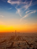 wiew of Paris city at sunset