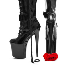 Black high heel platform boots tramp rose