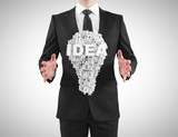 businessman holding  idea