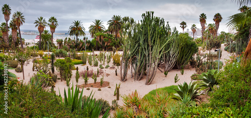 Panoramic view of Cactus Park at Montjuic hill at Barcelona