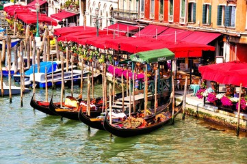 Picturesque gondola station, Grand Canal, Venice, Italy