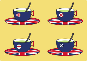 Teacups with uk flags, vector logo, tea cups