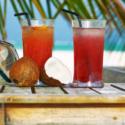 Cocktails at tropical beach