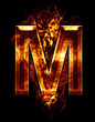 m, illustration of  letter with chrome effects and red fire on b