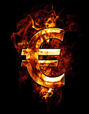 euro, illustration of  number with chrome effects and red fire o