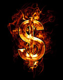 dollar, illustration of  number with chrome effects and red fire