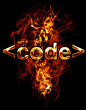code, illustration of  number with chrome effects and red fire o