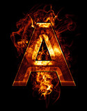 a, illustration of  letter with chrome effects and red fire on b
