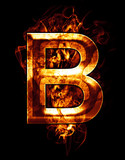 b, illustration of  letter with chrome effects and red fire on b