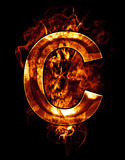 c, illustration of  letter with chrome effects and red fire on b